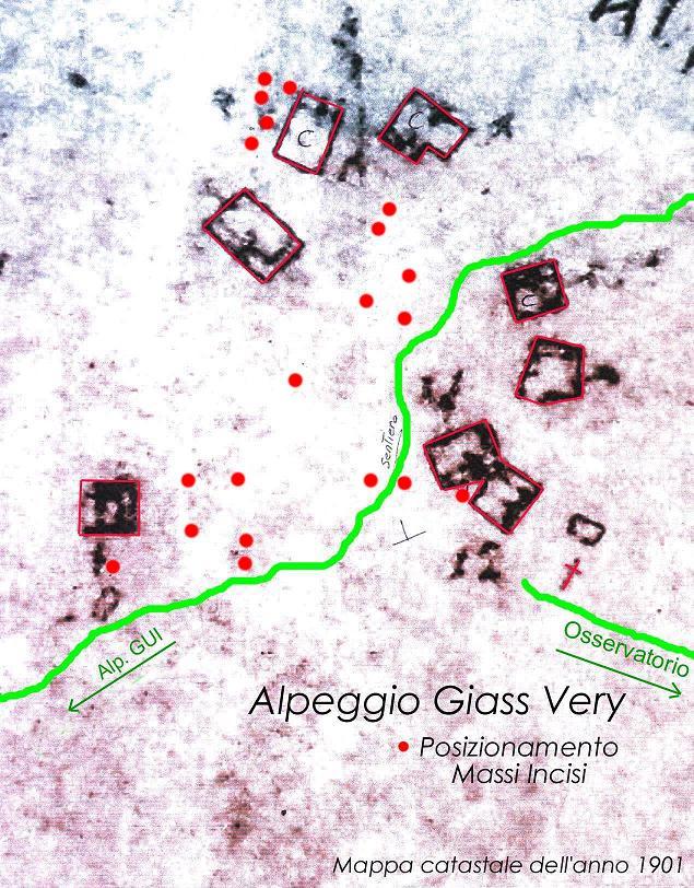 Mappa dell'alpeggio Giasvere da una mappa catastale dell'anno 1901